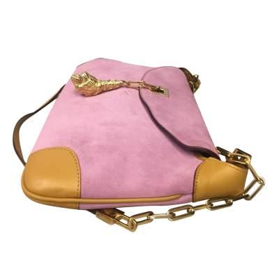 Pink suede shoulder Bag-5