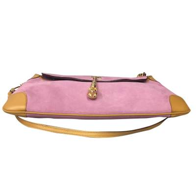 Pink suede shoulder Bag-9