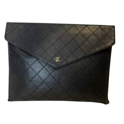 Black leather Clutch-0