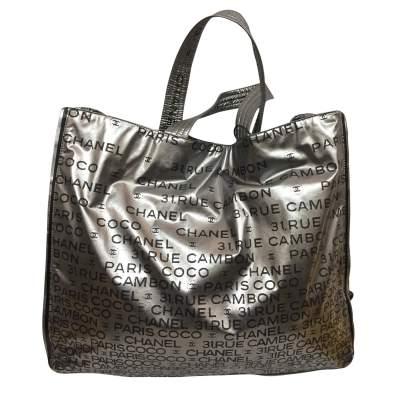 Silver vinyl tote Bag-3