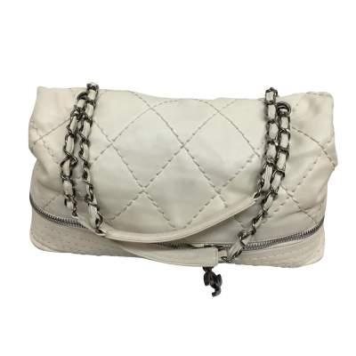 White and silver metal Handbag-3