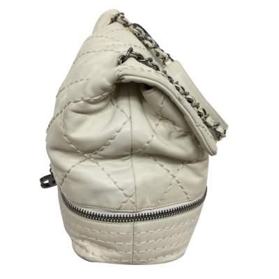 White and silver metal Handbag-5