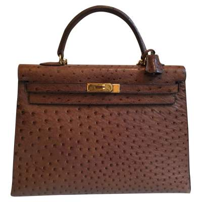 Brown ostrich Kelly 35' Handbag-0