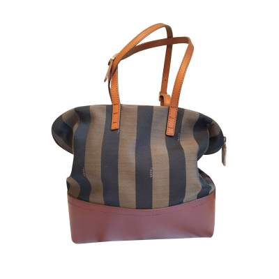 Leather and canvas handbag-0