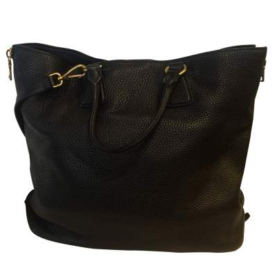 Black leather tote Bag-3