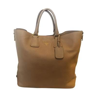 Beige Vitello Daino Expandable Shopper Bag-1