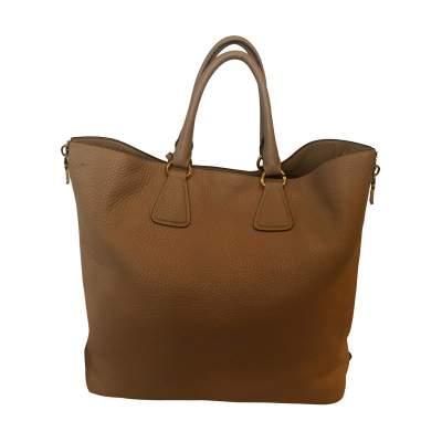 Beige Vitello Daino Expandable Shopper Bag-3