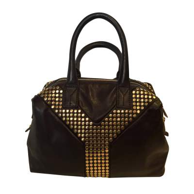 Chocolate studded gold leather Bag-1