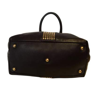 Chocolate studded gold leather Bag-9