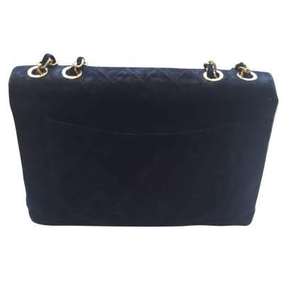 Vintage black suede jumbo Handbag -3