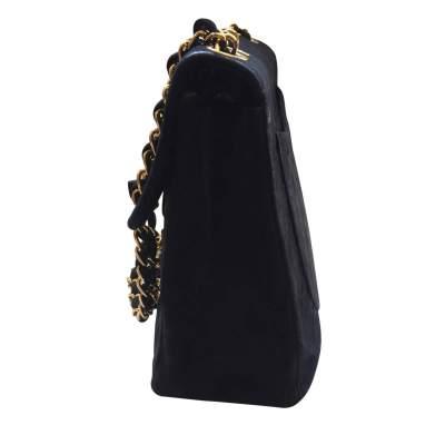 Vintage black suede jumbo Handbag -5