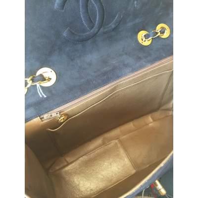 Vintage black suede jumbo Handbag -11