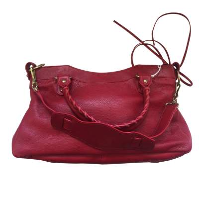 Red grained leather Handbag-3