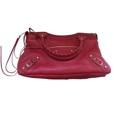 Red grained leather Handbag-5