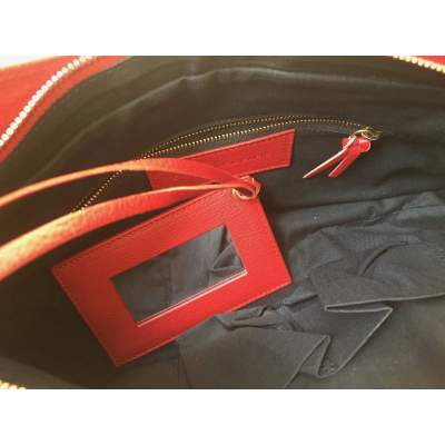 Red grained leather Handbag-7