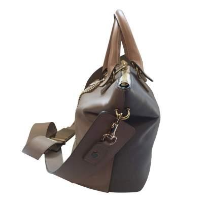 Beige and light gray  leather Handbag -5