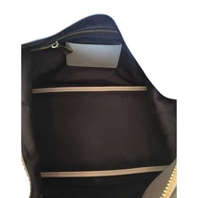 Beige and light gray  leather Handbag -9