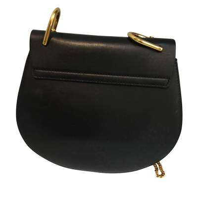 Black leather and suede Handbag-3