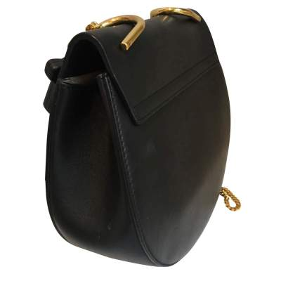 Black leather and suede Handbag-5