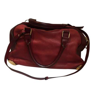 Two-tone red and burgundy leather Handbag -3
