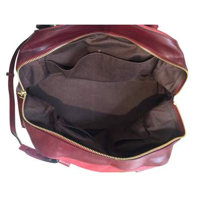 Two-tone red and burgundy leather Handbag -11
