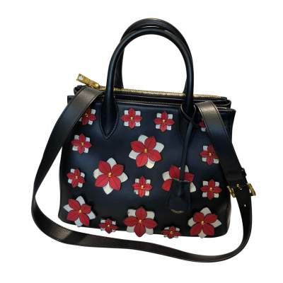 Flowers black leather Bag-3