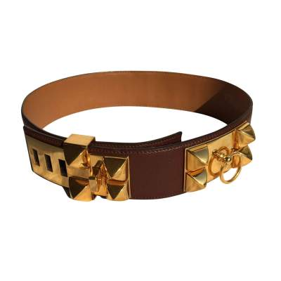 Brown grained leather dog collar Belt-0