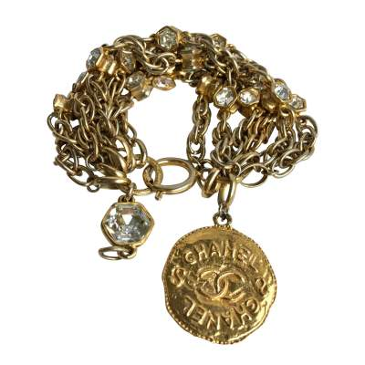 Collector  gilt and crystal stone Bracelet-0