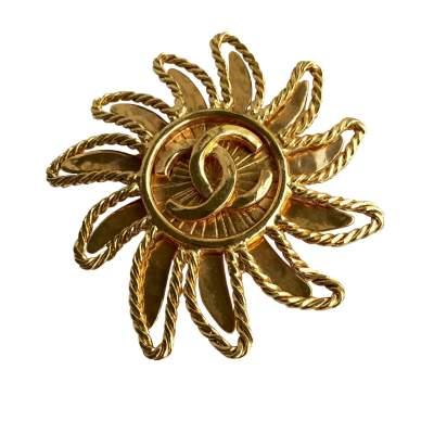 Sun Brooch in gilded metal-0