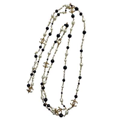 Black and white beaded Necklace-0