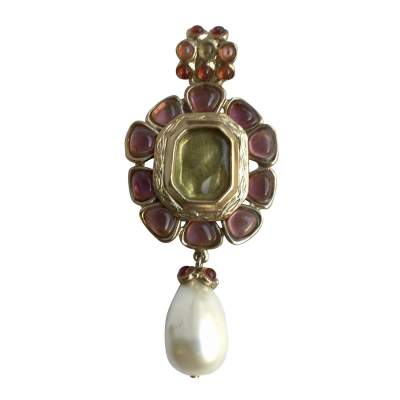 Gold metal pendant with pearl and pink resin-0
