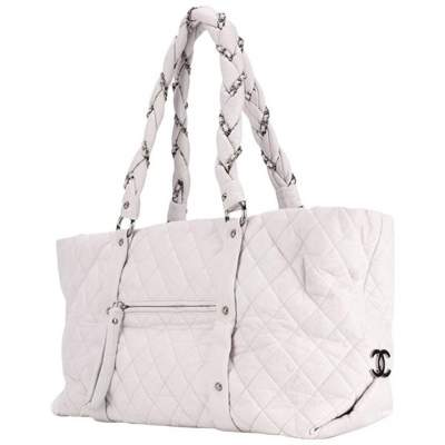 Large Off White Quilted Lambskin Tote Bag-0