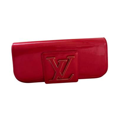Iridescent red patent leather flap Clutch-0