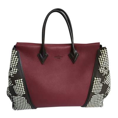 Burgundy and mocha leather Bag-0