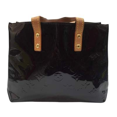 Small monogram plum patent leather Tote-0