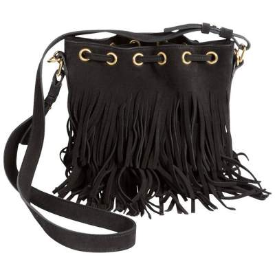 Black Suede Fringed Emmanuelle Bucket Bag-0