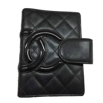 Quilted black leather diary cover CC logo-0