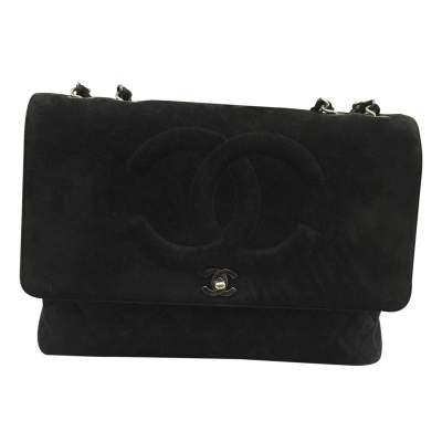 Classic jumbo bag in black Suede-1