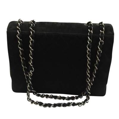 Classic jumbo bag in black Suede-3