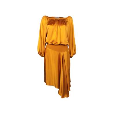 Asymetric lenght silk Dress-0