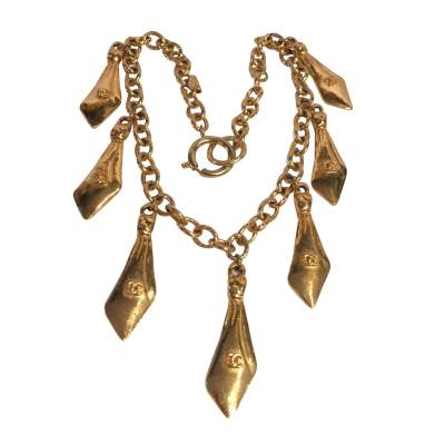 Vintage gold metal tassel Necklace -0