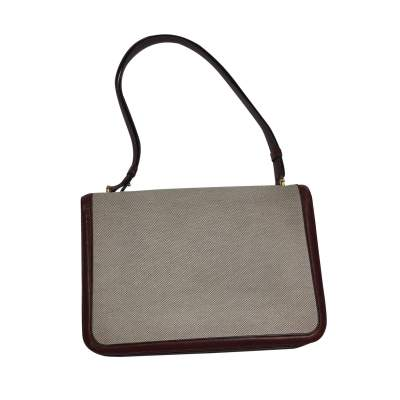 Vintage Linen Bag with Leather Border-3