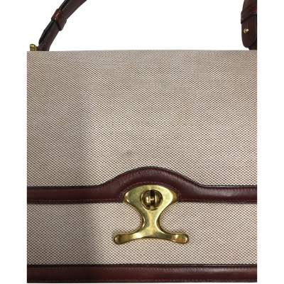 Vintage Linen Bag with Leather Border-7