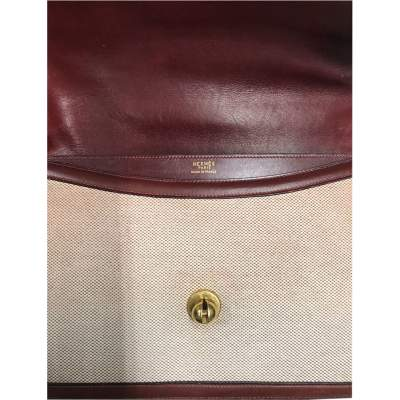 Vintage Linen Bag with Leather Border-9
