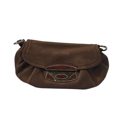 Pink/beige leather Handbag-1