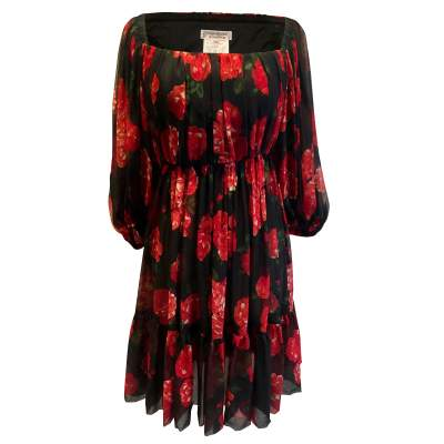 Vintage red and black floral 1994 Dress-0