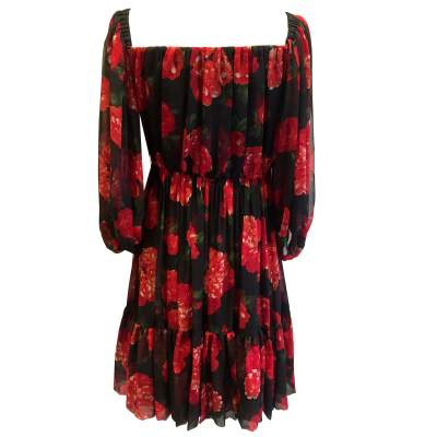 Vintage red and black floral 1994 Dress-3