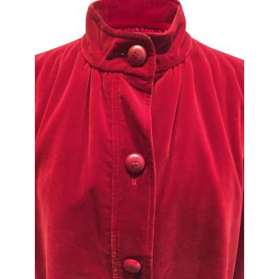 Vintage late 1970 red velvet Jacket -5