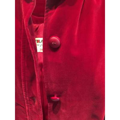 Vintage late 1970 red velvet Jacket -9