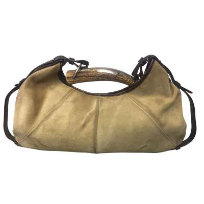 Beige suede and brown leather Bag-0